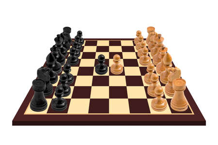 High resolution image of a wooden Chess board with a just started game. Isolated on white background