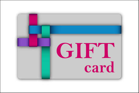 postcard: Gift card with colorful tapes. Vector illustration