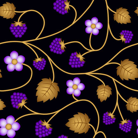 Vector seamless floral pattern background with raspberries