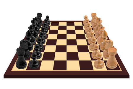 Chess pieces standing on chess board - isolated Stock Photo