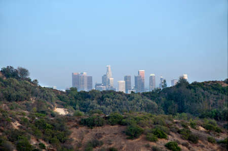 The City of Los Angeles - July 17, 2015. View to downtown LA from Griffith Park in the late afternoon