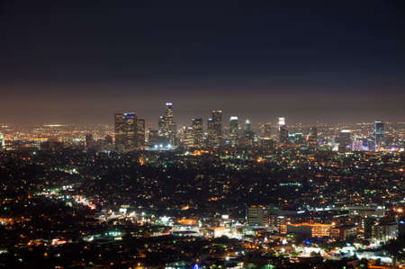 Los Angeles, California - July 17, 2015. Night view of downtown Los Angeles from Griffith Observatory