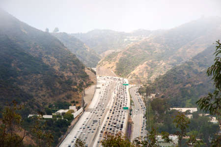 Interstate 405 Freeway near Brentwood, Los Angeles, aerial view Stock Photo