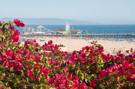 Santa Monica Beach and Pier on a hot summer day Stock Photo