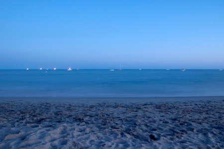 Ocean and beach at dusk - long exposure