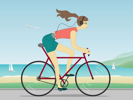 Attractive carefree young woman riding bicycle near the sea and listening to music Illustration