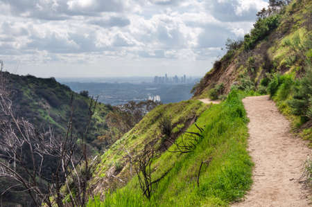 Hiking Trail - View to downtown Los Angeles from Verdugo Mountains, Burbank, California