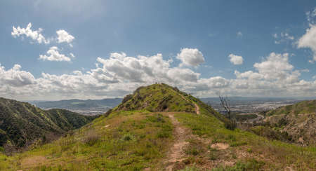 Hiking Trail - Panoramic view to Burbank, California, from Verdugo Mountains