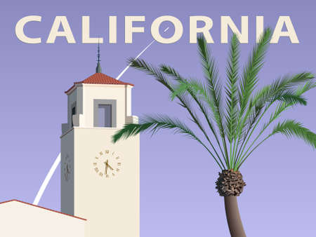 California architecture style building and a palm tree on the background of a space rocket launch – poster, vector illustration 向量圖像