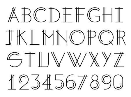Modern thin double line font, alphabet elegant design, vector Векторная Иллюстрация