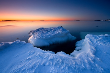Icy sunrise in Helsnki Stock Photo