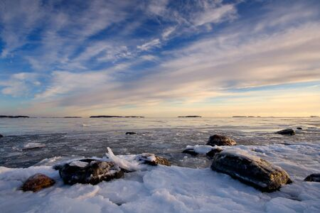 icescape: Icy sea and colorful sky Stock Photo
