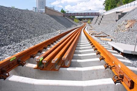 Railway construction site in Vuosaari, Finland
