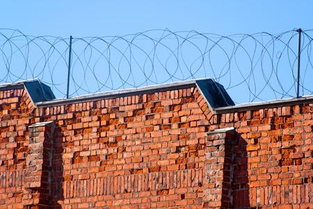 Prison wall in Helsinki prison, Finland Standard-Bild