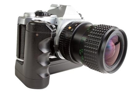 Alte Spiegelreflexkamera mit Motor-Winder, isoliert auf weiß Standard-Bild - 12507813