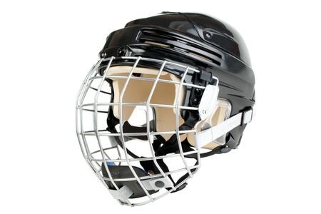 Black junior size hockey helmet, isolated on white