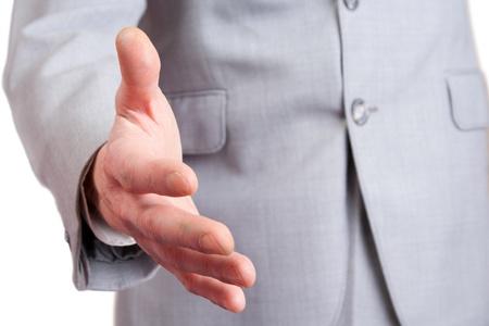 saluta: Uomo d'affari � pronto per la stretta di mano