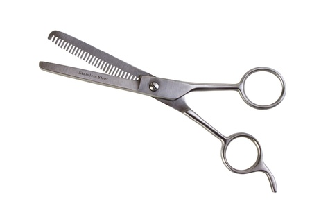 thinning: Barbers thinning shears, isolated on white