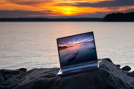 Landscape with laptop in summer morning Stock Photo - 13070245