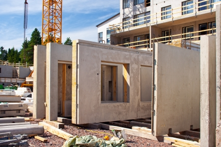 Precast concrete wall panels in the construction site