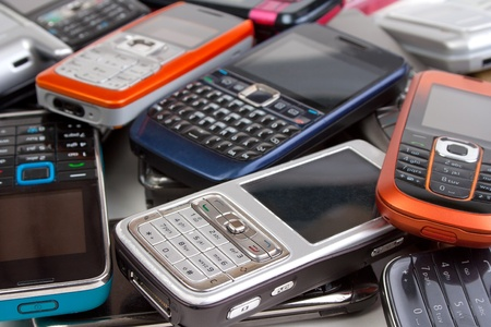 Different cell phones closeup