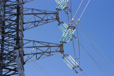 insulators: High voltage transmission insulators Stock Photo