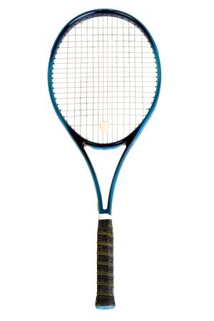 raqueta de tenis: Raqueta de tenis, aisladas sobre fondo blanco Foto de archivo