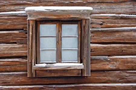 Window of old log cabin