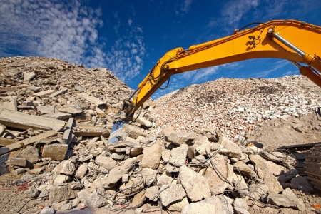dismantling: Construction demolition waste recycling site