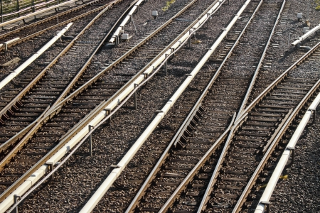 turnout: Railway tracks with turnout points Stock Photo