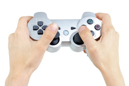 gamepad: Computer play controller in use, isolated on white