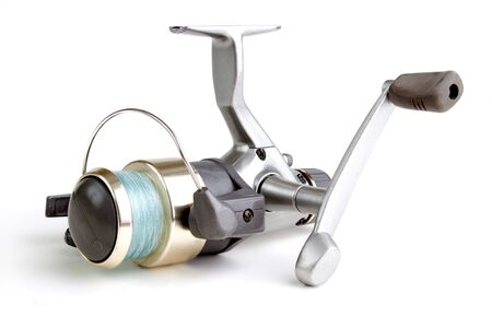 fixed line: Fishing reel with line, isolated on white with shadow Stock Photo