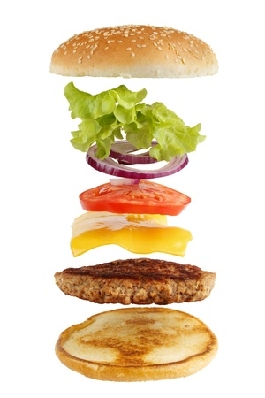 include: Exploded view of burger, isolated on white