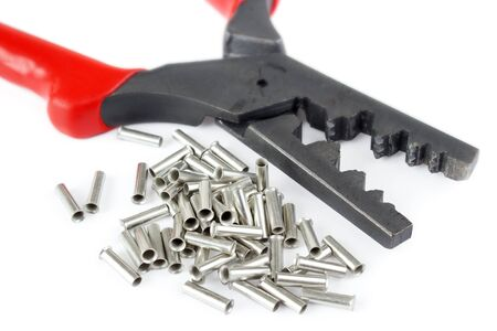 Cable tube terminals with scrimping pliers Фото со стока
