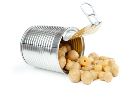 Canned champignons, kan geopend