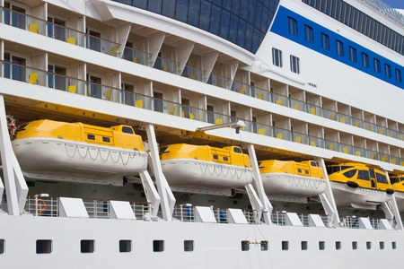 lifeboats: Different lifeboats on big cruise ship Editorial