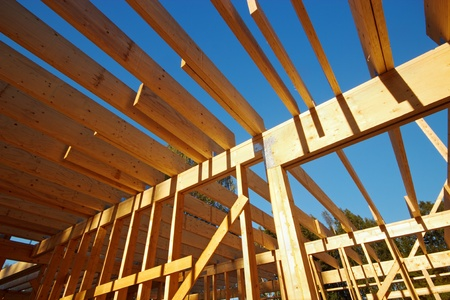 timber frame: Wooden house roof skeleton closeup