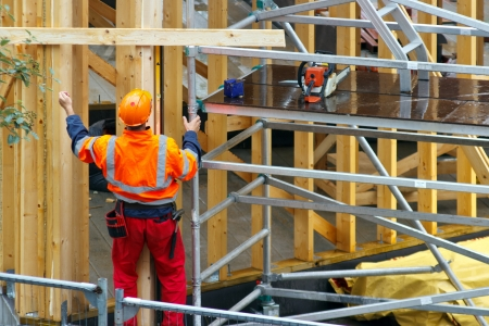 Construction worker in construction site Stock Photo