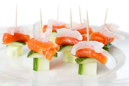 nibbles: Party nibbles made from shrimp and salmon