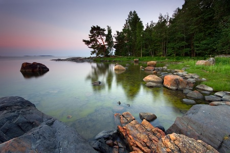 scandinavian landscape: Early summer morning in the Uutela nature park Stock Photo