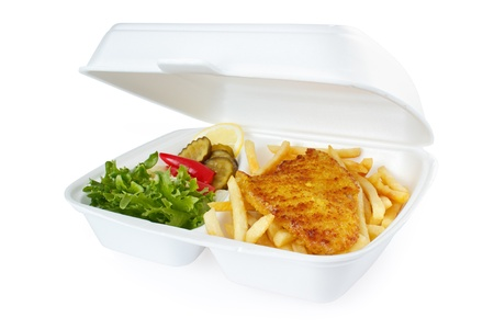 Fish and chips Teil von Fast-Food-Service Standard-Bild - 17153919
