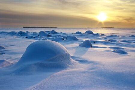 Partly cloudy scene in winter afternoon seascape