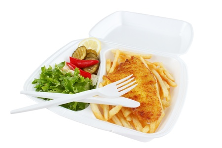 Fish and chips from fast food restaurant , isolated photo