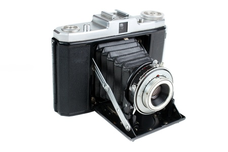folding camera: Vintage folding camera for 120 roll film , isolated