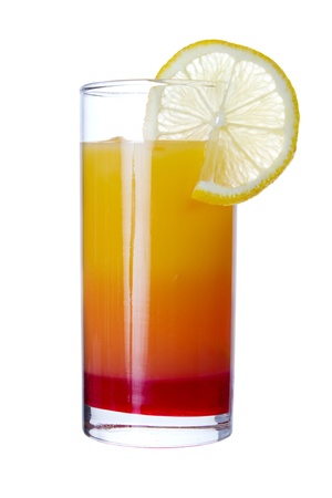 grenadine: Tequila Sunrise long drink, isolated on white