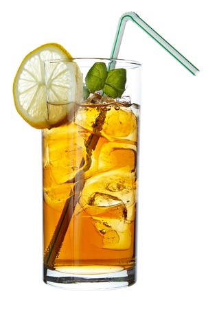 Long Island Iced Tea long drink , isolated on white photo