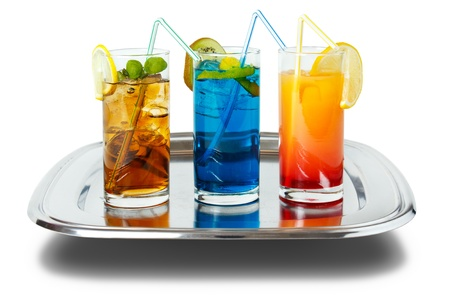 Three long drinks on tray , isolated with shadow photo