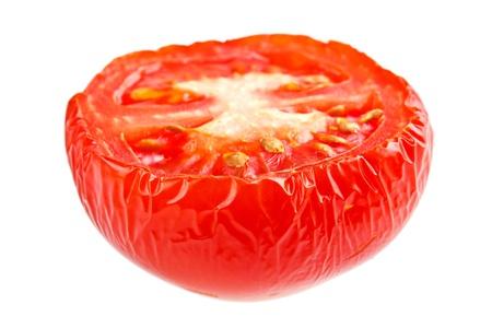 dryed: Wrinkled half tomato , isolated on white Stock Photo