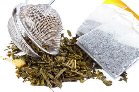 tea strainer: Dry tea with strainer and tea bags