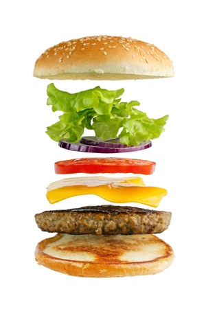 include: Classic hamburger ingredients, isolated on white